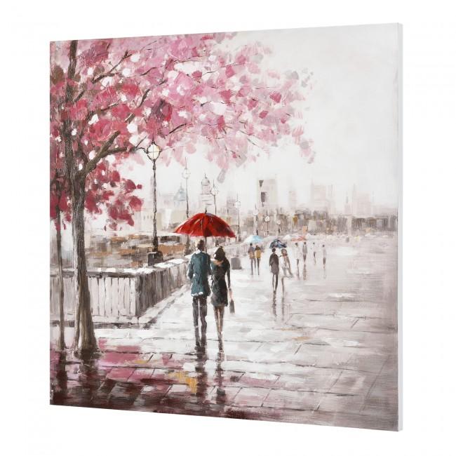 ablou pictat manual - oras - panza in, cu rama ascunsa - 100x100x3,8cm