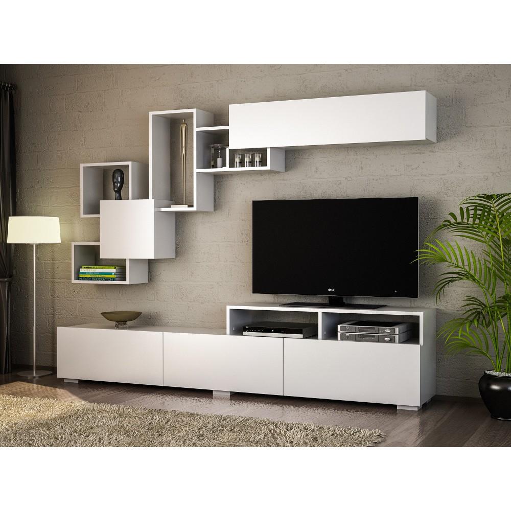Set comodă TV și raft de perete Elit, alb