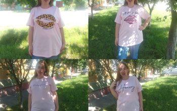 4 tricouri roz din bumbac de la Femme Luxe